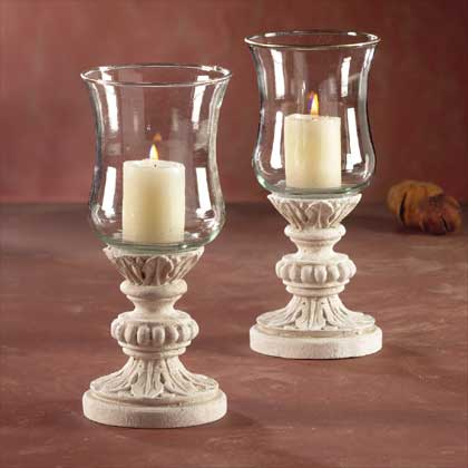 Gold Edged Hurricane Candle Holder Lamps