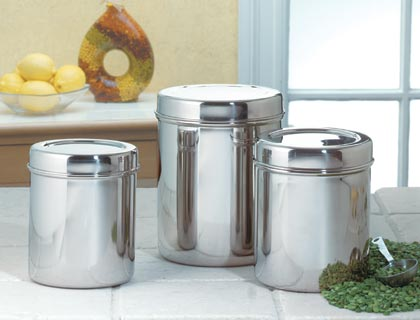 Stainless Steel Canisters Stainless Steel Canisters Keep Food Fresh Longer  And Make Handsome Decorations For Any Modern Kitchen Counter. Dishwasher  Safe.